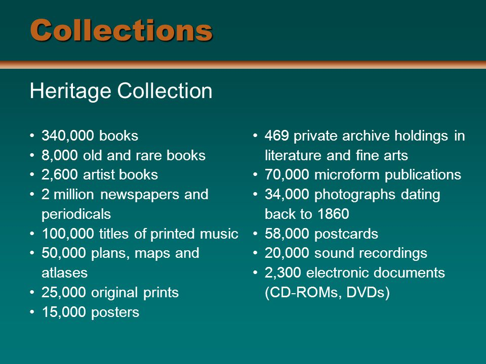Collections Heritage Collection 340,000 books 8,000 old and rare books 2,600 artist books 2 million newspapers and periodicals 100,000 titles of printed music 50,000 plans, maps and atlases 25,000 original prints 15,000 posters 469 private archive holdings in literature and fine arts 70,000 microform publications 34,000 photographs dating back to ,000 postcards 20,000 sound recordings 2,300 electronic documents (CD-ROMs, DVDs)