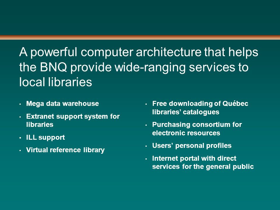 A powerful computer architecture that helps the BNQ provide wide-ranging services to local libraries Mega data warehouse Extranet support system for libraries ILL support Virtual reference library Free downloading of Québec libraries' catalogues Purchasing consortium for electronic resources Users' personal profiles Internet portal with direct services for the general public