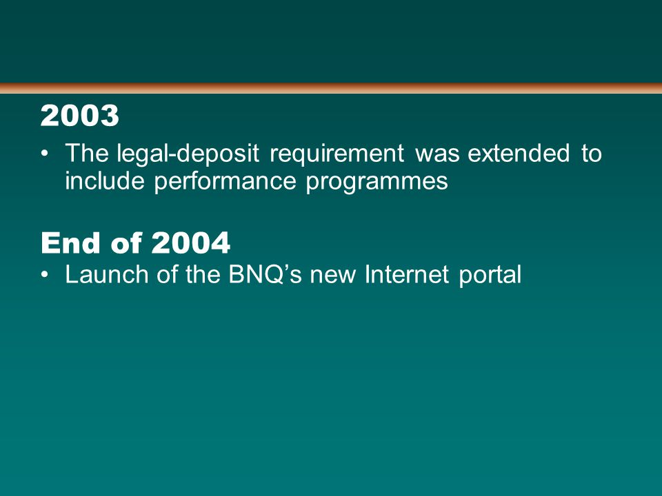 2003 The legal-deposit requirement was extended to include performance programmes End of 2004 Launch of the BNQ's new Internet portal