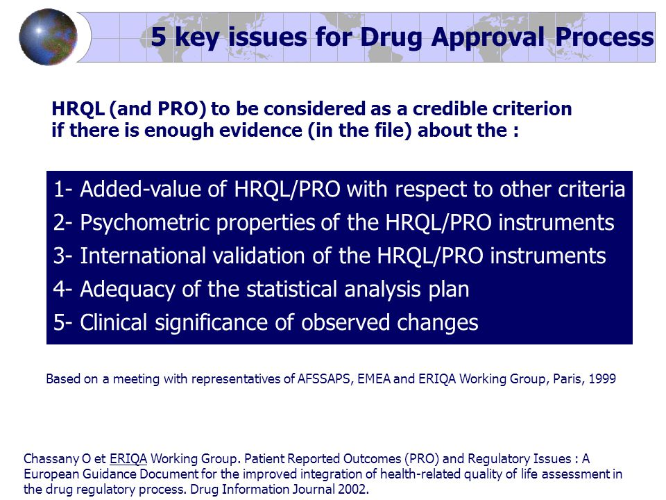 5 key issues for Drug Approval Process Based on a meeting with representatives of AFSSAPS, EMEA and ERIQA Working Group, Paris, 1999 1- Added-value of HRQL/PRO with respect to other criteria 2- Psychometric properties of the HRQL/PRO instruments 3- International validation of the HRQL/PRO instruments 4- Adequacy of the statistical analysis plan 5- Clinical significance of observed changes Chassany O et ERIQA Working Group.