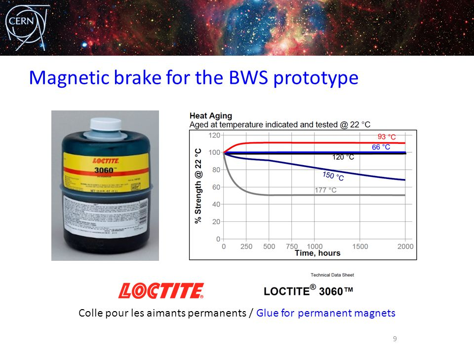 Magnetic brake for the BWS prototype 9 Colle pour les aimants permanents / Glue for permanent magnets
