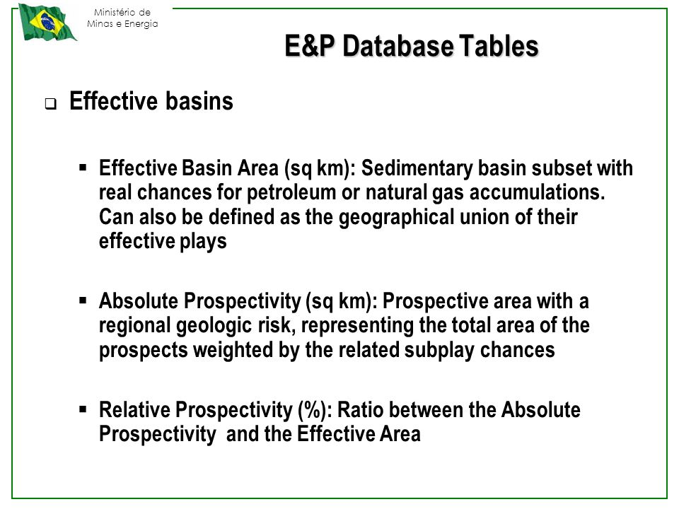 Ministério de Minas e Energia E&P Database Tables  Effective basins  Effective Basin Area (sq km): Sedimentary basin subset with real chances for petroleum or natural gas accumulations.