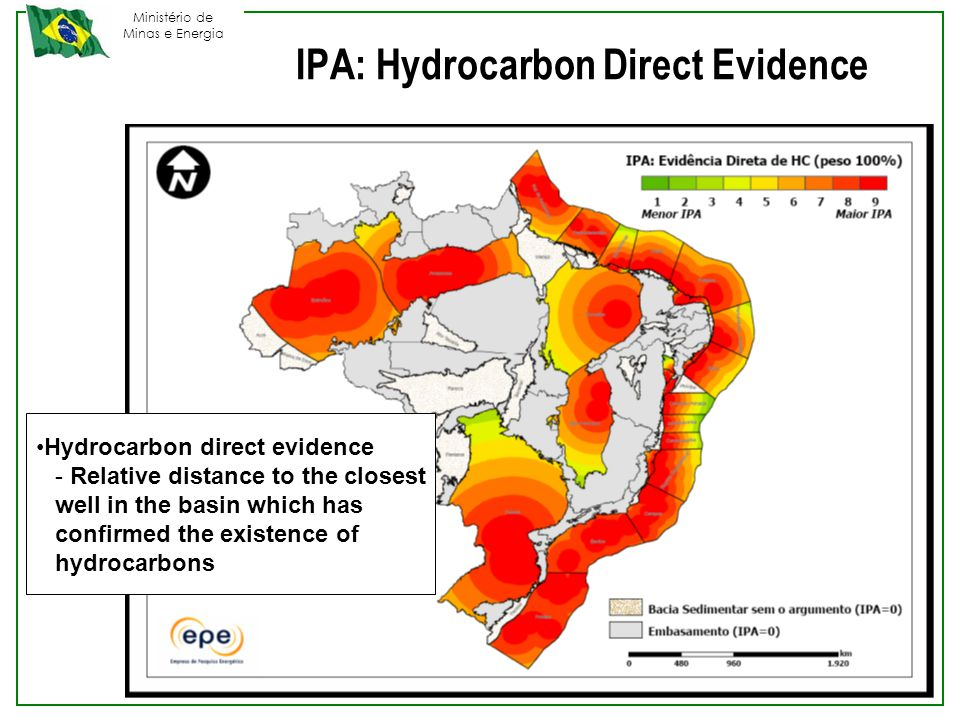 Ministério de Minas e Energia Hydrocarbon direct evidence - Relative distance to the closest well in the basin which has confirmed the existence of hydrocarbons IPA: Hydrocarbon Direct Evidence
