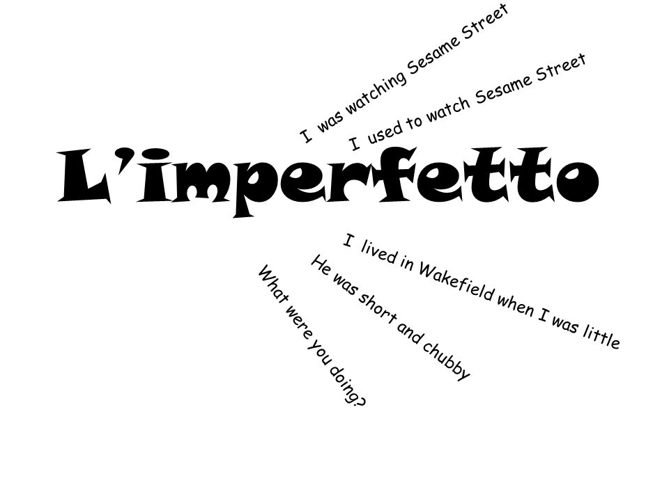 L'imperfetto I was watching Sesame Street I lived in Wakefield when I was little He was short and chubby What were you doing.