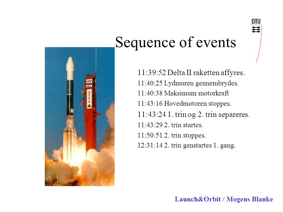 Launch&Orbit / Mogens Blanke Sequence of events 11:39:52 Delta II raketten affyres.