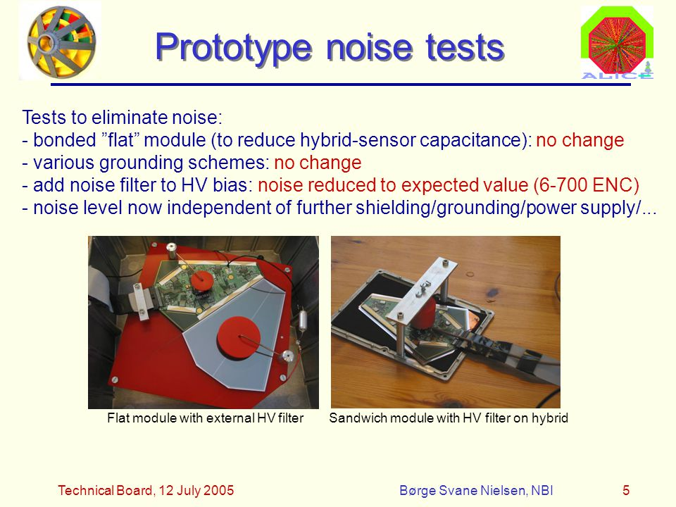 Technical Board, 12 July 2005Børge Svane Nielsen, NBI5 Prototype noise tests Tests to eliminate noise: - bonded flat module (to reduce hybrid-sensor capacitance): no change - various grounding schemes: no change - add noise filter to HV bias: noise reduced to expected value (6-700 ENC) - noise level now independent of further shielding/grounding/power supply/...