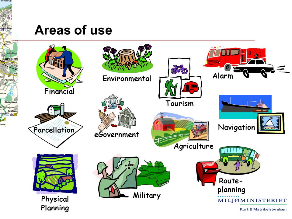Areas of use Physical Planning Military Environmental Alarm Navigation Financial Parcellation eGovernment Route- planning Tourism Agriculture