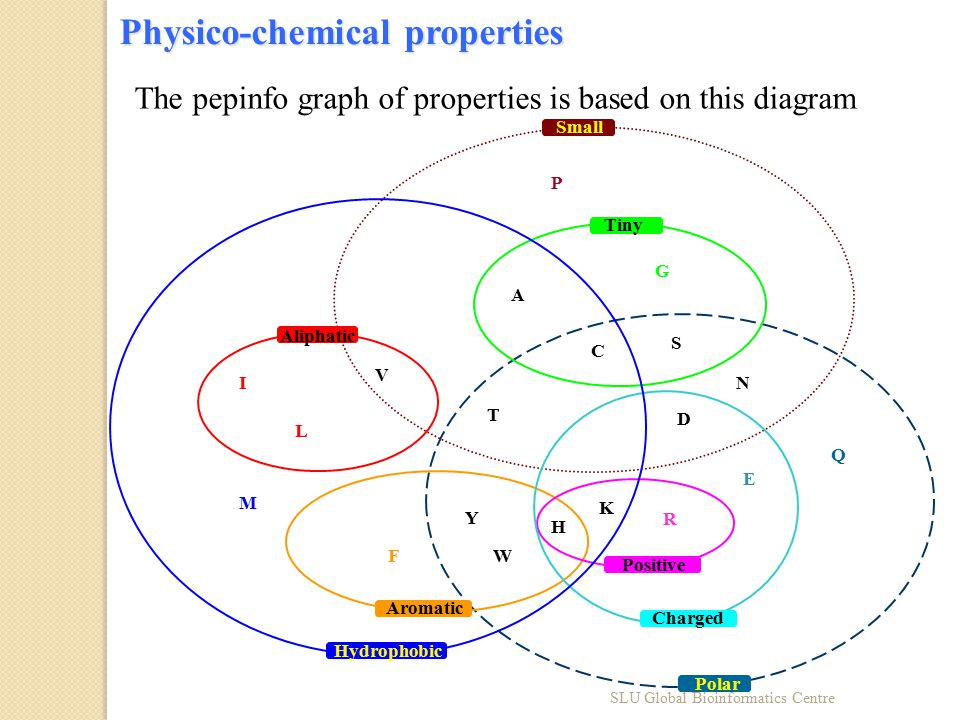 Physico-chemical properties D Y FW H K R E Q N M A G C S P I V L T Aliphatic Aromatic Hydrophobic Tiny Small Charged Positive Polar The pepinfo graph of properties is based on this diagram SLU Global Bioinformatics Centre