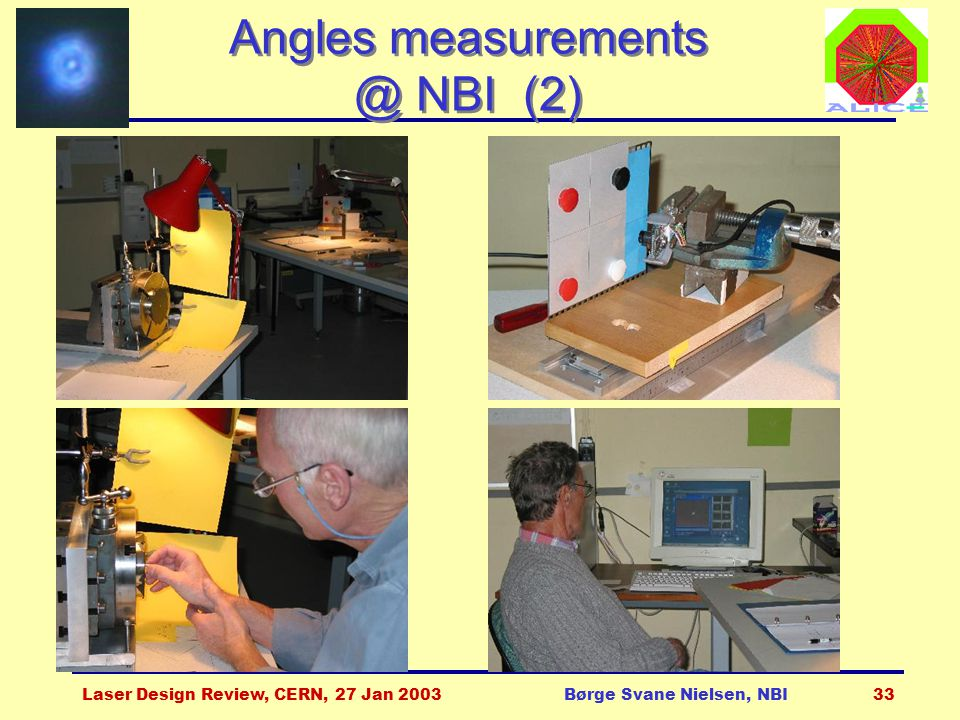 Laser Design Review, CERN, 27 Jan 2003Børge Svane Nielsen, NBI33 Angles measurements @ NBI (2)