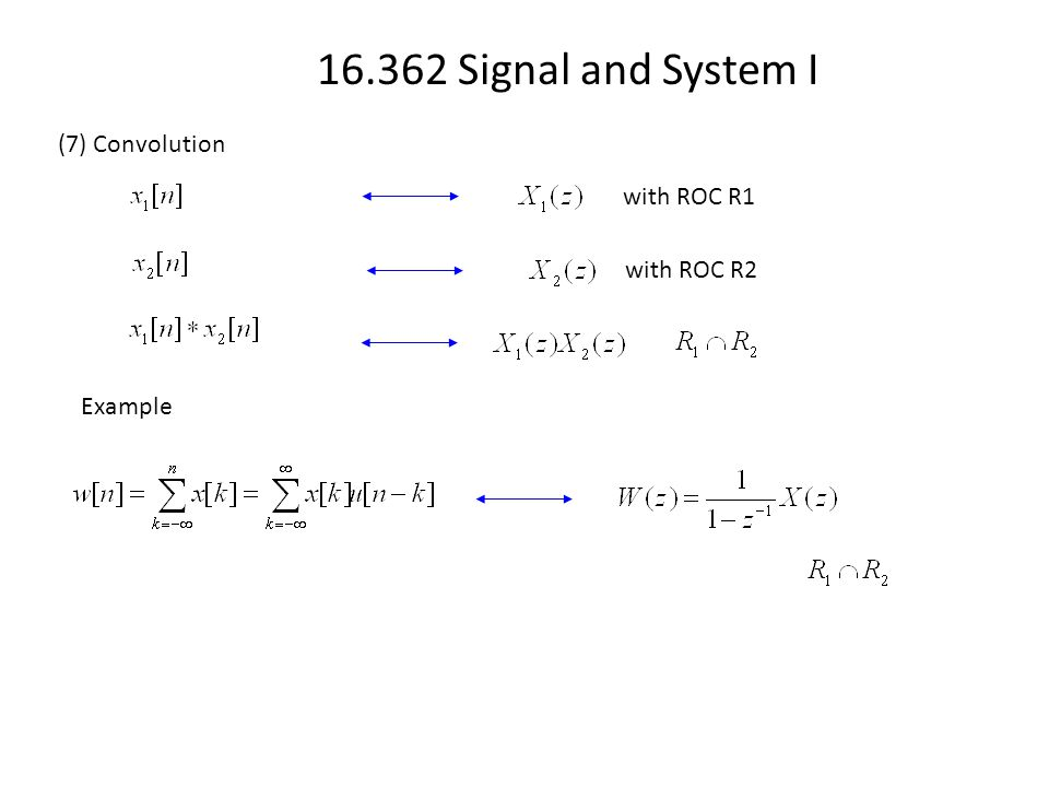 16.362 Signal and System I (7) Convolution with ROC R1 with ROC R2 Example