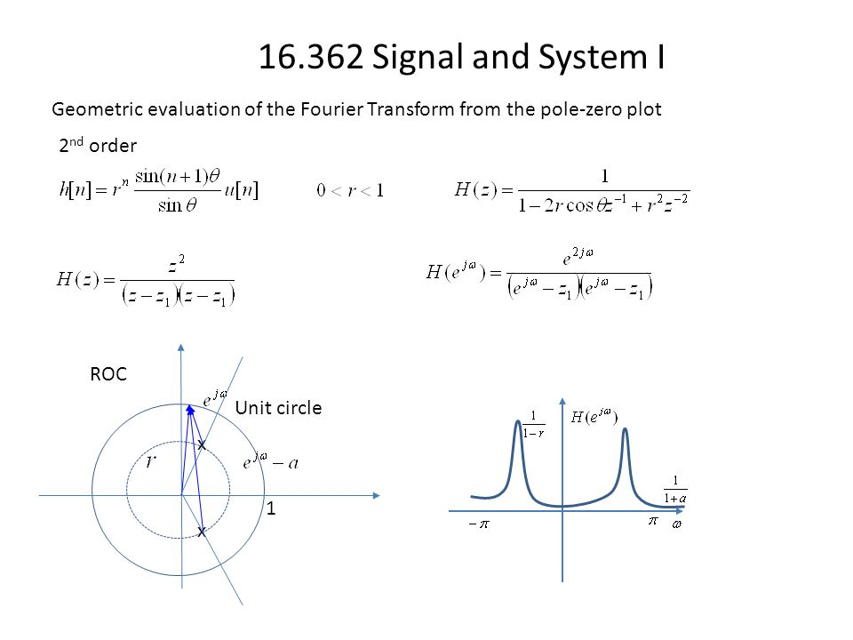 16.362 Signal and System I Geometric evaluation of the Fourier Transform from the pole-zero plot ROC 1 Unit circle x 2 nd order x