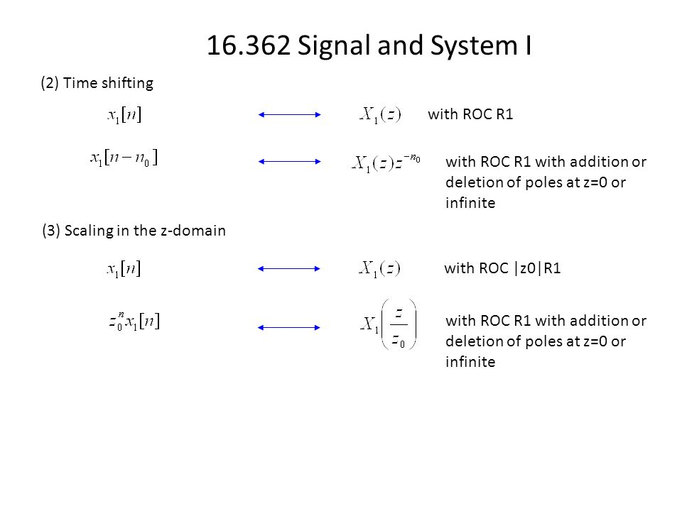 16.362 Signal and System I (2) Time shifting with ROC R1 with ROC R1 with addition or deletion of poles at z=0 or infinite (3) Scaling in the z-domain with ROC |z0|R1 with ROC R1 with addition or deletion of poles at z=0 or infinite