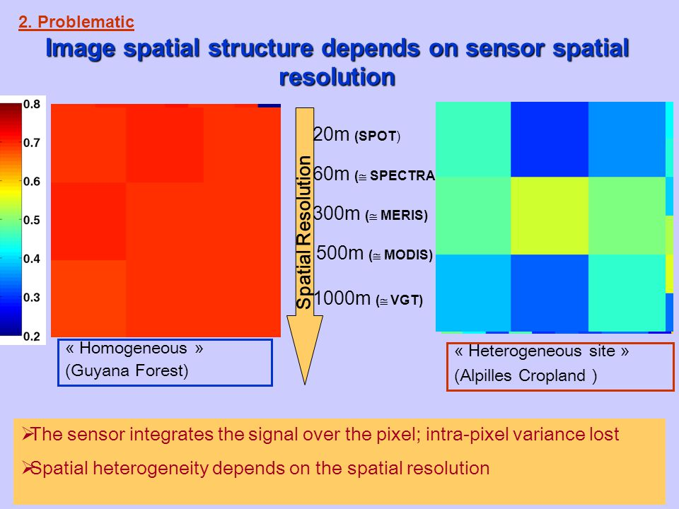 5  The sensor integrates the signal over the pixel; intra-pixel variance lost  Spatial heterogeneity depends on the spatial resolution « Homogeneous » (Guyana Forest) Spatial Resolution « Heterogeneous site » (Alpilles Cropland ) 2.