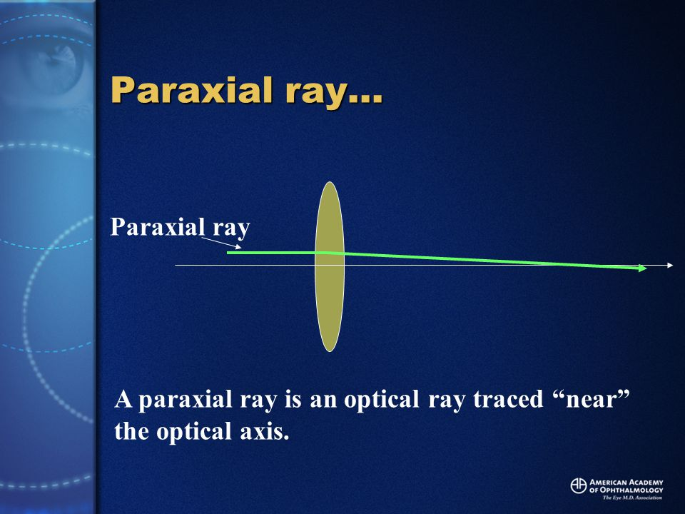 Paraxial ray… Paraxial ray A paraxial ray is an optical ray traced near the optical axis.