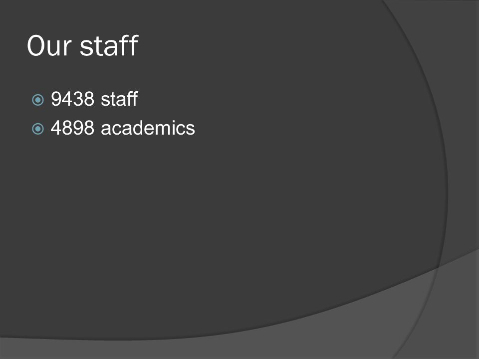 Our staff  9438 staff  4898 academics