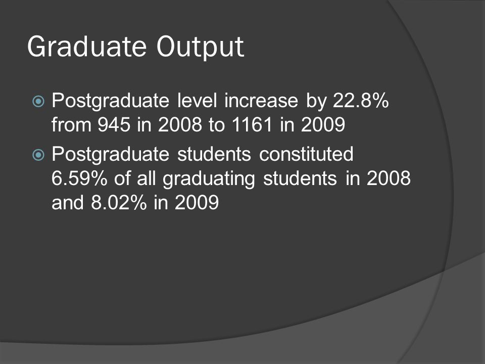  Postgraduate level increase by 22.8% from 945 in 2008 to 1161 in 2009  Postgraduate students constituted 6.59% of all graduating students in 2008 and 8.02% in 2009