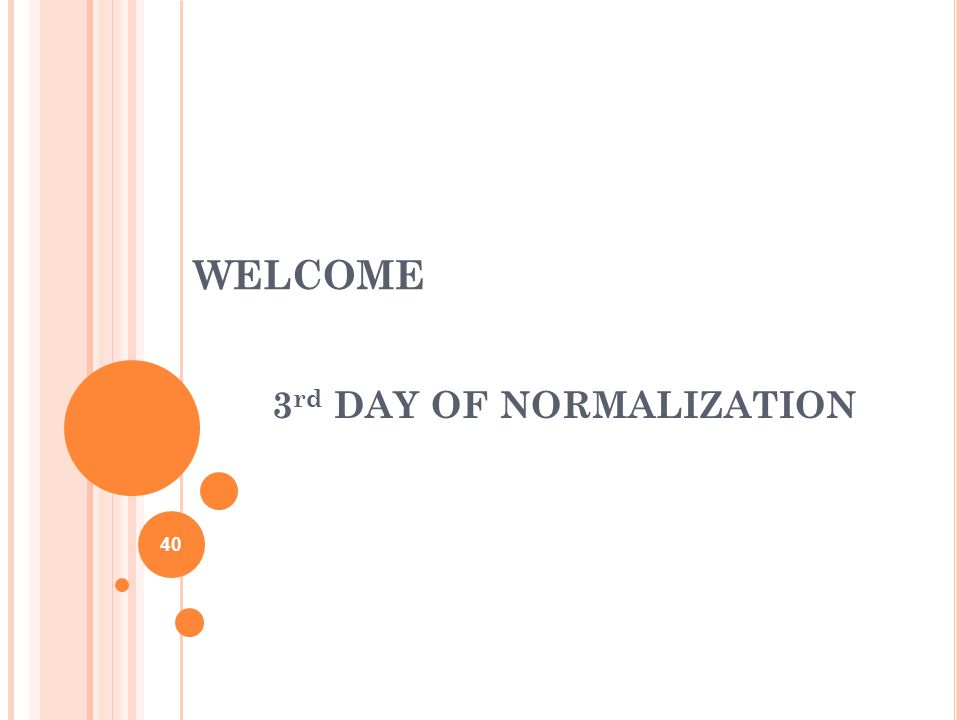 WELCOME 3 rd DAY OF NORMALIZATION 40
