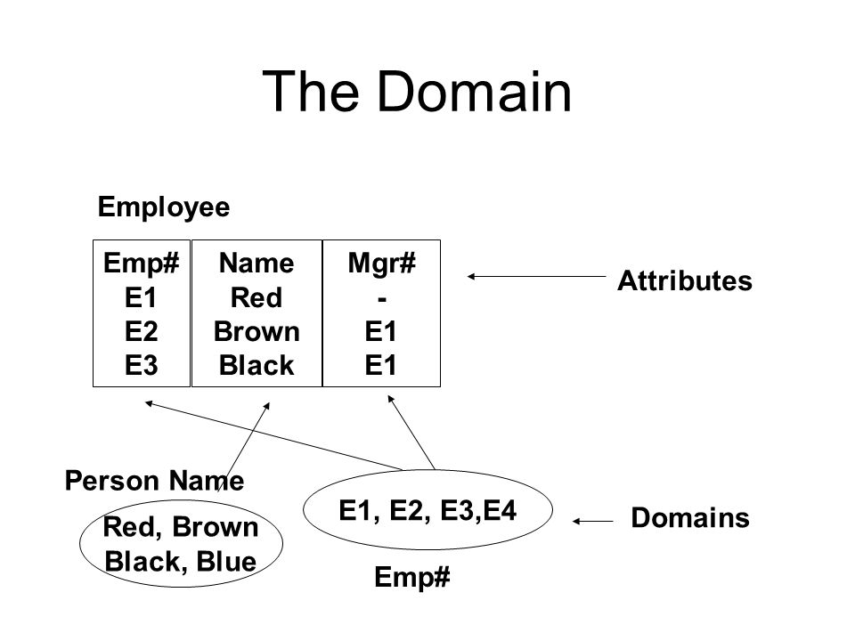 The Domain Emp# E1 E2 E3 Name Red Brown Black Mgr# - E1 E1, E2, E3,E4 Red, Brown Black, Blue Attributes Domains Employee Person Name Emp#