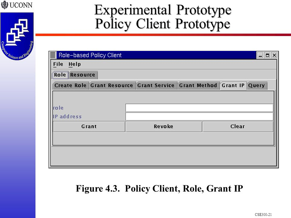 CSE300-21 Experimental Prototype Policy Client Prototype Figure 4.3. Policy Client, Role, Grant IP
