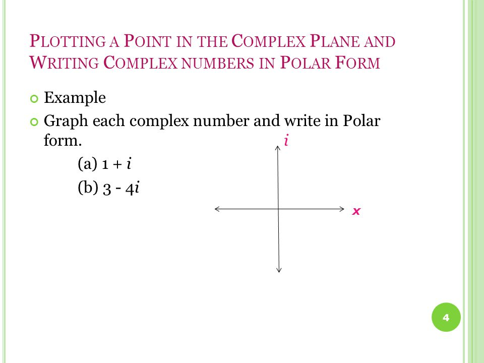 P LOTTING A P OINT IN THE C OMPLEX P LANE AND W RITING C OMPLEX NUMBERS IN P OLAR F ORM Example Graph each complex number and write in Polar form.