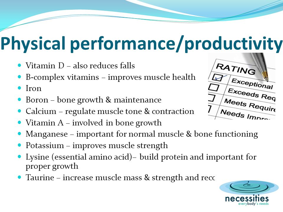 Physical performance/productivity Vitamin D – also reduces falls B-complex vitamins – improves muscle health Iron Boron – bone growth & maintenance Calcium – regulate muscle tone & contraction Vitamin A – involved in bone growth Manganese – important for normal muscle & bone functioning Potassium – improves muscle strength Lysine (essential amino acid)– build protein and important for proper growth Taurine – increase muscle mass & strength and recovery time