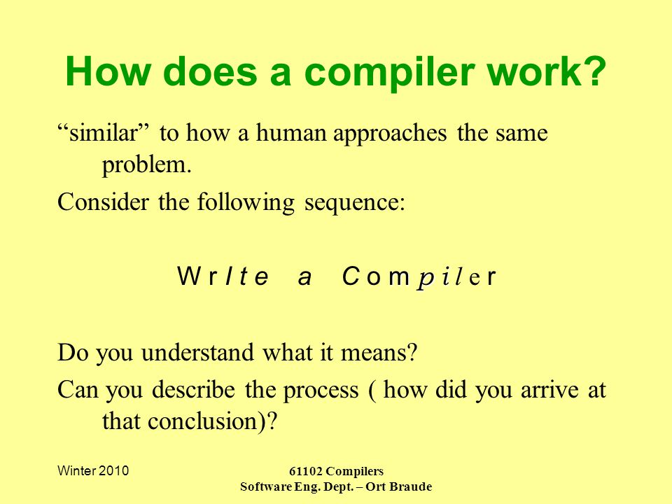 Winter 2010 61102 Compilers Software Eng. Dept. – Ort Braude How does a compiler work.
