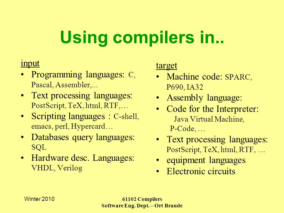 Using compilers in.. Winter 2010 61102 Compilers Software Eng.