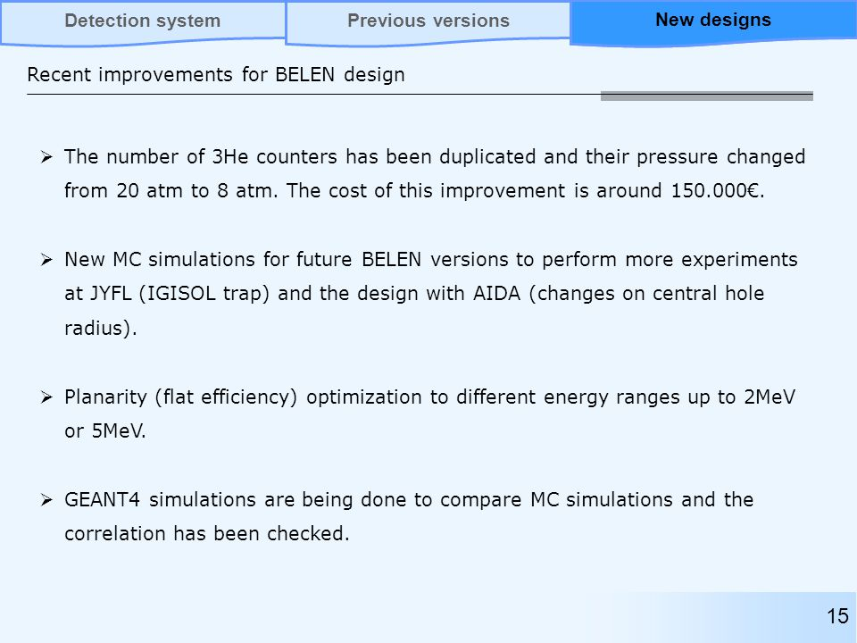 Recent improvements for BELEN design  The number of 3He counters has been duplicated and their pressure changed from 20 atm to 8 atm.