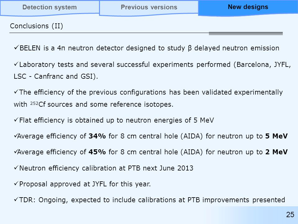 Conclusions (II) BELEN is a 4π neutron detector designed to study β delayed neutron emission Laboratory tests and several successful experiments performed (Barcelona, JYFL, LSC - Canfranc and GSI).