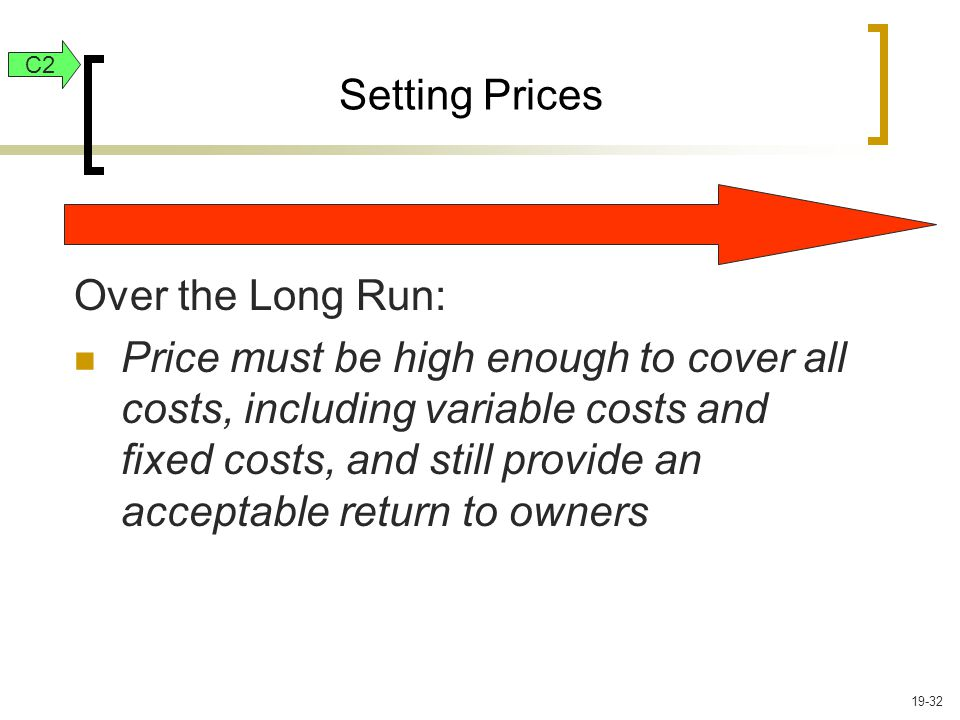 Setting Prices Over the Long Run: Price must be high enough to cover all costs, including variable costs and fixed costs, and still provide an acceptable return to owners C2 19-32