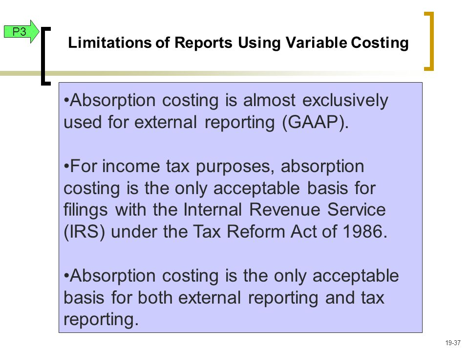 Limitations of Reports Using Variable Costing P3 Absorption costing is almost exclusively used for external reporting (GAAP).
