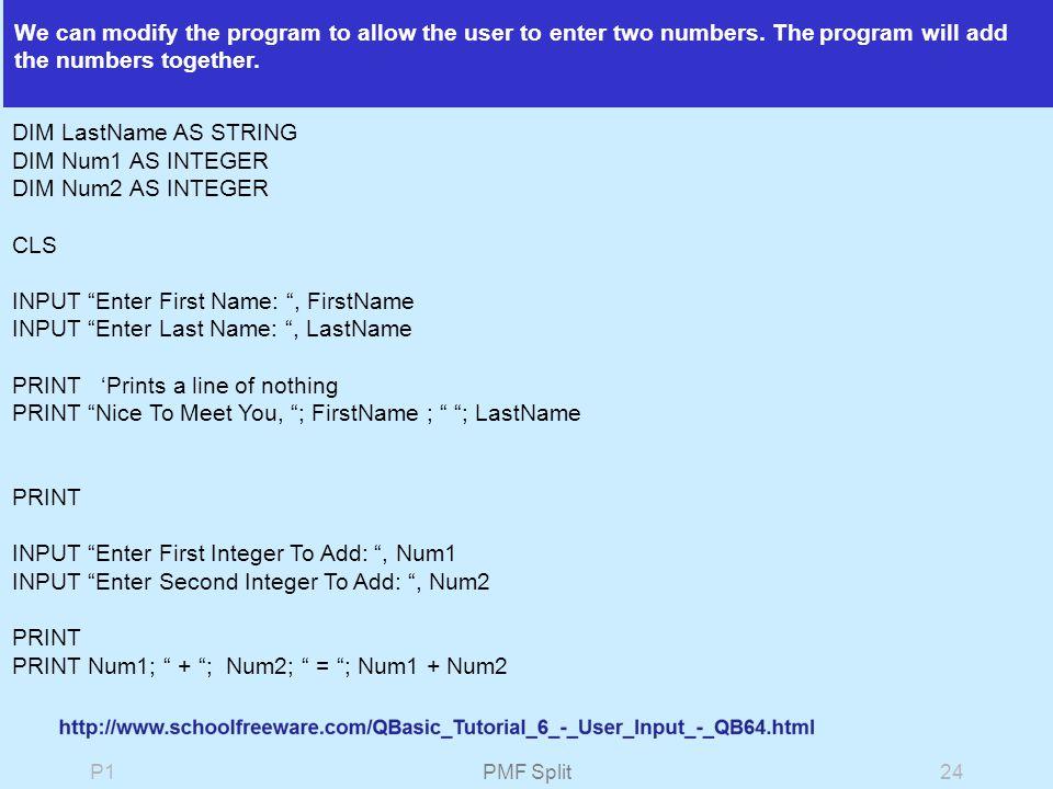 P1PMF Split1 QBASIC  P1PMF Split2QBasic Command Prompt Will