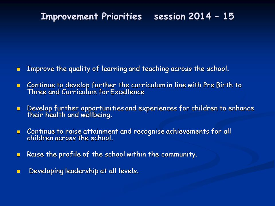 Improvement Priorities session 2014 – 15 Improve the quality of learning and teaching across the school.