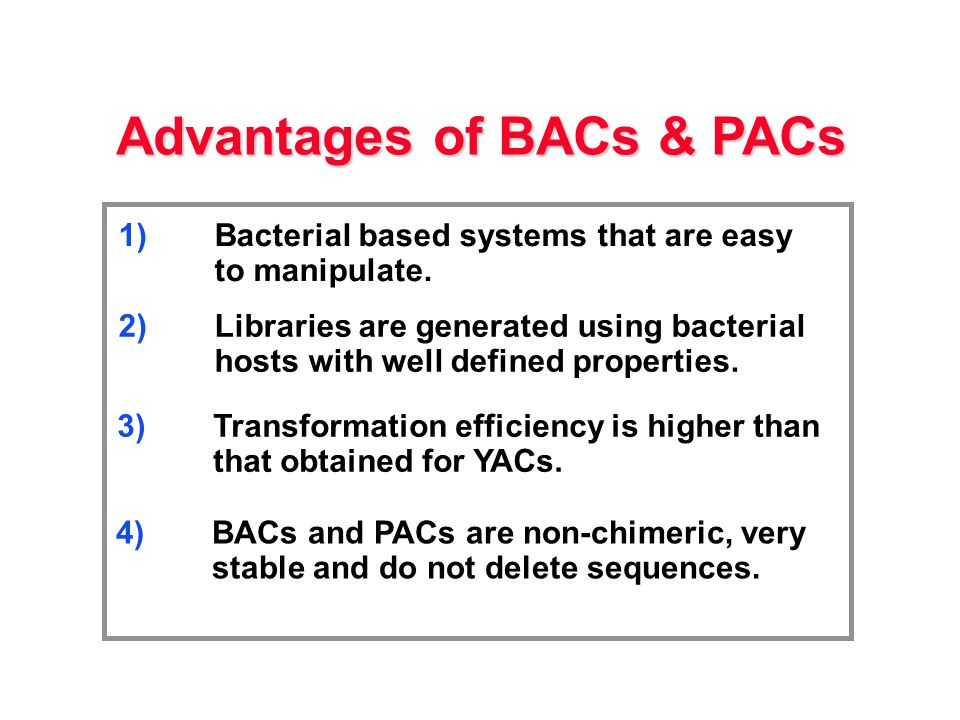 Advantages of BACs & PACs 2)Libraries are generated using bacterial hosts with well defined properties.