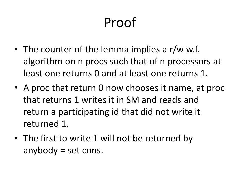 Proof The counter of the lemma implies a r/w w.f.