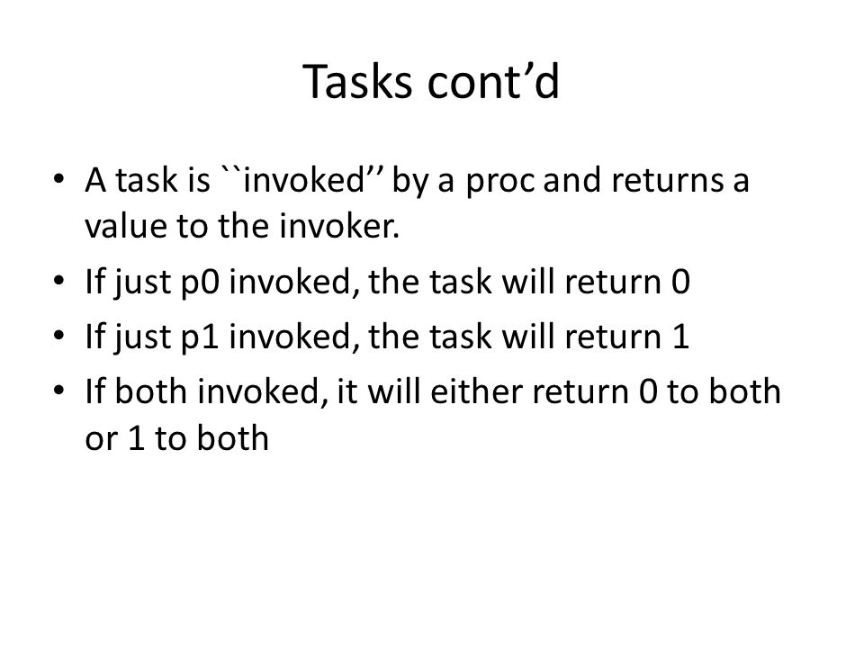 Tasks cont'd A task is ``invoked'' by a proc and returns a value to the invoker.