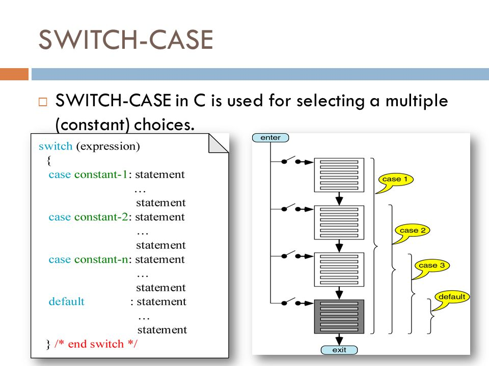 SWITCH-CASE  SWITCH-CASE in C is used for selecting a multiple (constant) choices.