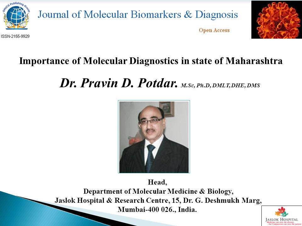 Importance of Molecular Diagnostics in state of Maharashtra Dr.