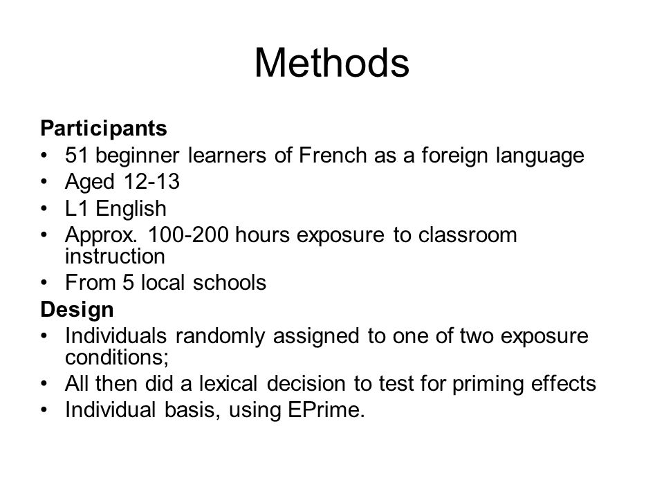 Aims of current study RQ: Can we observe priming of French verb inflections amongst beginner L2 learners.