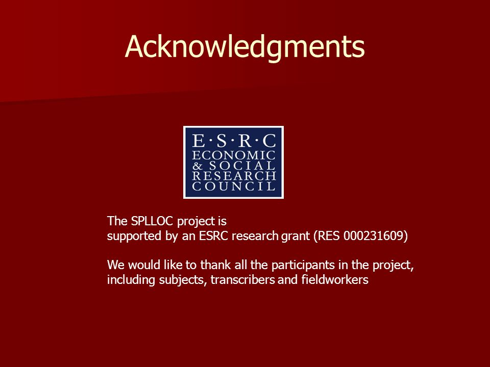 The SPLLOC project is supported by an ESRC research grant (RES 000231609) We would like to thank all the participants in the project, including subjects, transcribers and fieldworkers Acknowledgments