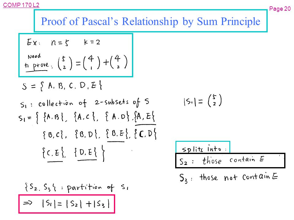 COMP 170 L2 Page 20 Proof of Pascal's Relationship by Sum Principle