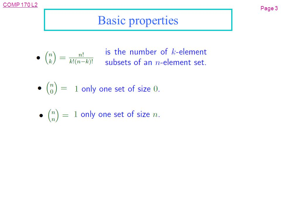 COMP 170 L2 Page 3 Basic properties