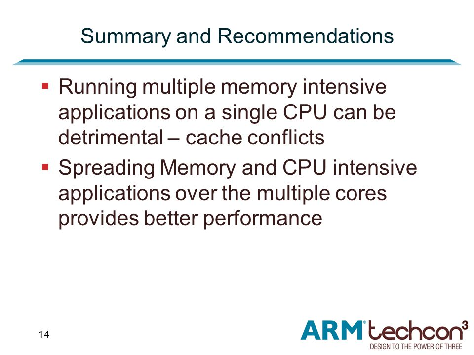 14 Summary and Recommendations  Running multiple memory intensive applications on a single CPU can be detrimental – cache conflicts  Spreading Memory and CPU intensive applications over the multiple cores provides better performance