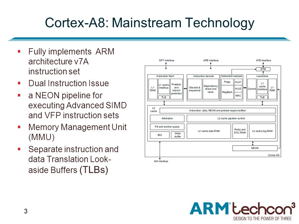 3 Cortex-A8: Mainstream Technology  Fully implements ARM architecture v7A instruction set  Dual Instruction Issue  a NEON pipeline for executing Advanced SIMD and VFP instruction sets  Memory Management Unit (MMU)  Separate instruction and data Translation Look- aside Buffers (TLBs)