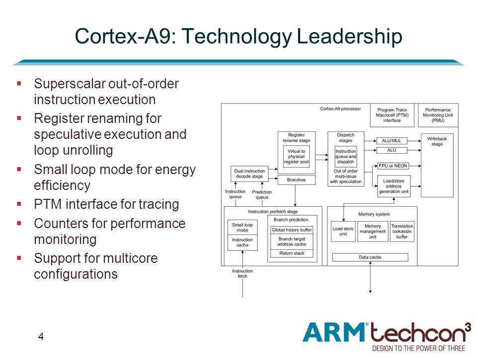 4  Superscalar out-of-order instruction execution  Register renaming for speculative execution and loop unrolling  Small loop mode for energy efficiency  PTM interface for tracing  Counters for performance monitoring  Support for multicore configurations Cortex-A9: Technology Leadership
