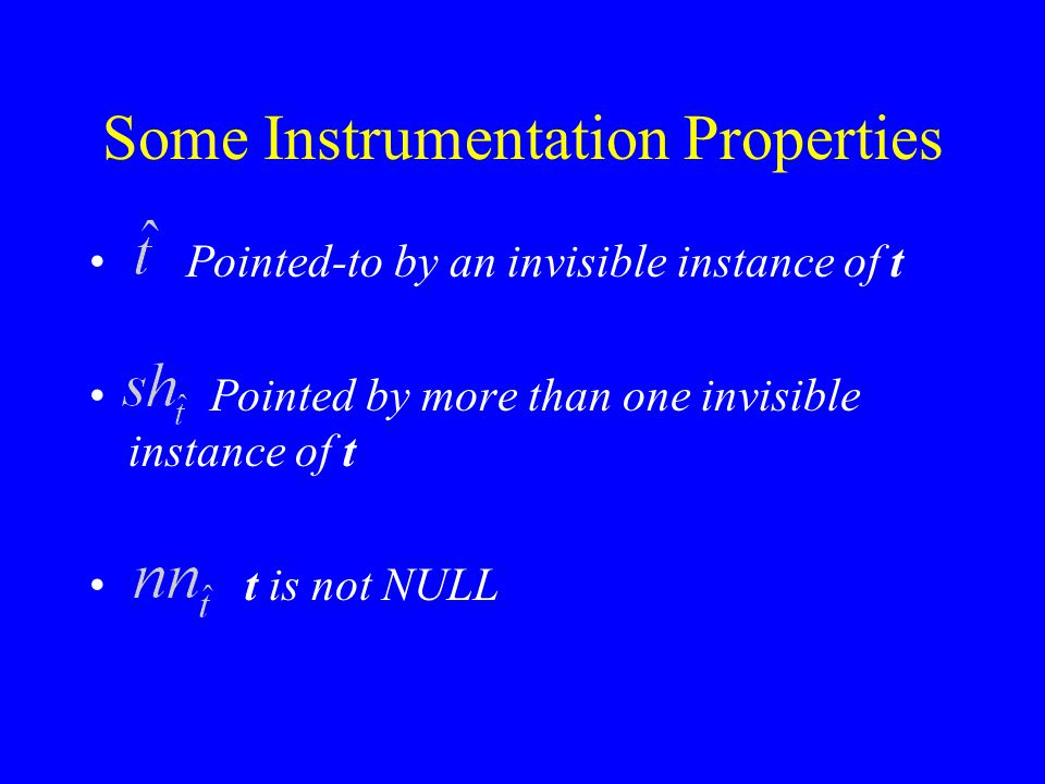 Some Instrumentation Properties Pointed-to by an invisible instance of t Pointed by more than one invisible instance of t t is not NULL