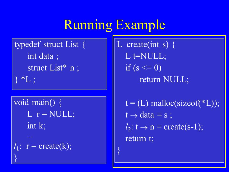 Running Example typedef struct List { int data ; struct List* n ; } *L ; L create(int s) { L t=NULL; if (s <= 0) return NULL; t = (L) malloc(sizeof(*L)); t  data = s ; l 2 : t  n = create(s-1); return t; } void main() { L r = NULL; int k; … l 1 : r = create(k); }