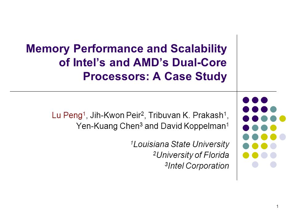 1 Memory Performance and Scalability of Intel's and AMD's Dual-Core Processors: A Case Study Lu Peng 1, Jih-Kwon Peir 2, Tribuvan K.