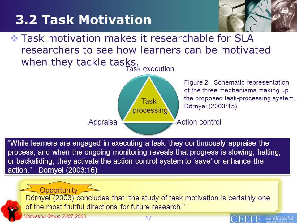 Motivation Group 2007-2008 3.2 Task Motivation Dörnyei (2003) concludes that the study of task motivation is certainly one of the most fruitful directions for future research. Opportunity  Task motivation makes it researchable for SLA researchers to see how learners can be motivated when they tackle tasks.