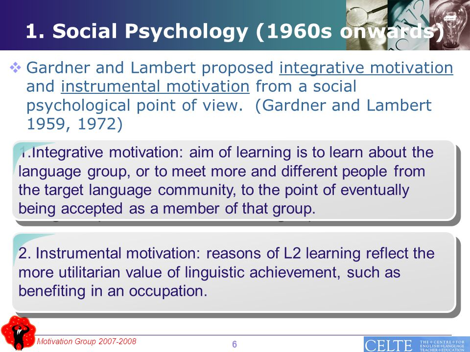 Motivation Group 2007-2008 1.Integrative motivation: aim of learning is to learn about the language group, or to meet more and different people from the target language community, to the point of eventually being accepted as a member of that group.